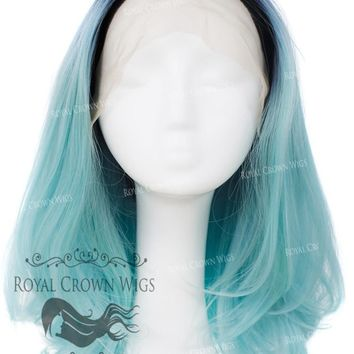 """17"""" Heat Safe Synthetic Lace Front """"Victoria"""" Bob with Straight Texture in Rooted Light Blue"""