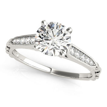 Unique Petite Style Moissanite And Diamond Engagement Ring 0.45 Ctw.