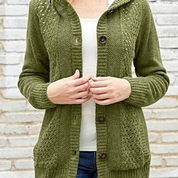 Fleece Hooded Olive Button Down Cardigan Sweater