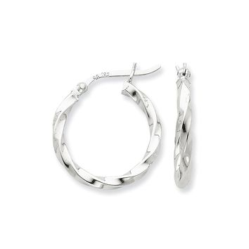 Sterling Silver Twist 20mm Hoop Earrings