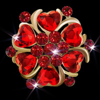 Colorful Heart Stone Crystal Rhinestone Open Floral Flower Leaf Pin Brooch, Brooches & Pins, Floral Brooches | Pugster.com