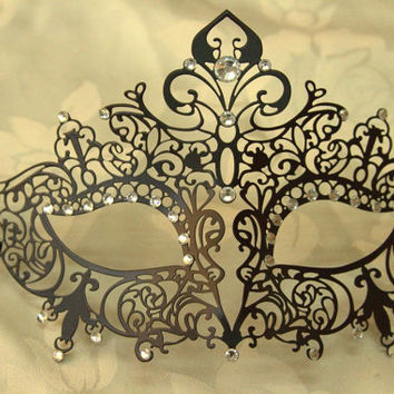 Black Elegant Crown Masquerade Laser Cut Mask with Rhinestones