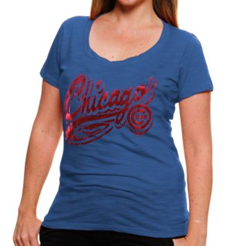 Chicago Cubs Womens Missy Slub Baby Jersey Scoop Neck T-Shirt - Royal Blue