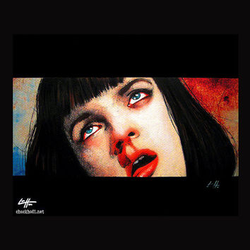 "Print 8x10"" - Girl you'll be a women soon - Pulp Fiction Mia Wallace Quentin Tarantino Heroin Drugs Overdose 90s Gund Uma Thurman Pop Art"