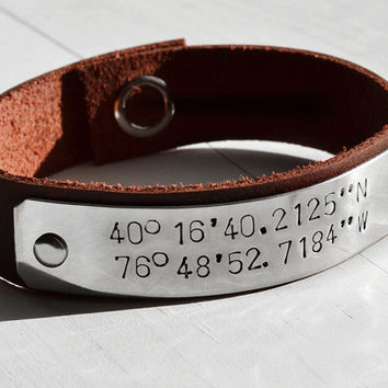 Men or Womens Latitude and Longitude Personalized by GunmetalGems