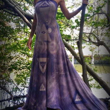 MINX Eye of Horus All seeing eye triangle maxi dress Organic bamboo sacred geometry