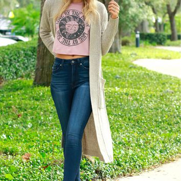 Open Front Knit Cardigan Taupe