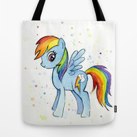 Rainbow Dash Watercolor | My Little Pony Tote Bag by Olechka