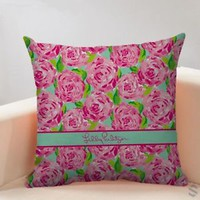 LILLY PULITZER ROSE Decorative Free Shipping Pillow Case 18 x 18 Limited Edition
