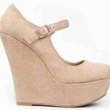Delicious KAYLA Basic Platform Wedge Heel Mary Jane Pump,kayla Oatmeal ISU 5.5