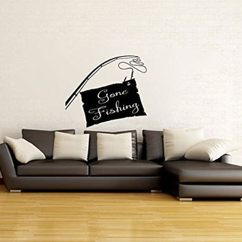 Gone Fishing Sign and Pole Vinyl Wall Words Decal Sticker Graphic