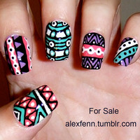 Hand painted aztec/tribal fake nails.
