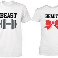 Beauty and the Beast - His and Her Matching T-Shirts for Couples in White