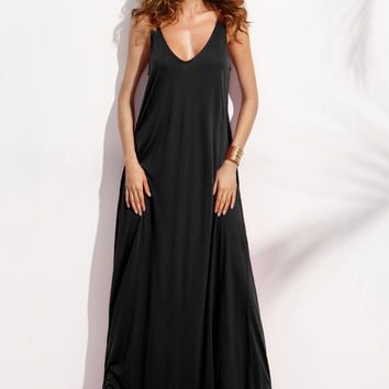 Black Sleeveless Double V-Neck Maxi Dress
