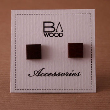 Square wooden stud earrings