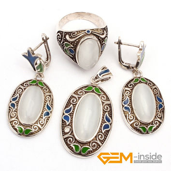 White Cat Eye & Cloisonne Antiqued Tibeten Silver Ring Earrings Pendant Classical Jewelry For Party Hot Item!