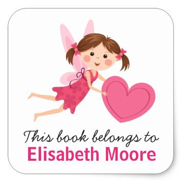 Cute fairy with pink heart kids bookplate book square sticker
