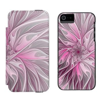Fractal Pink Flower Dream, Floral Fantasy Pattern Wallet Case For iPhone SE/5/5s