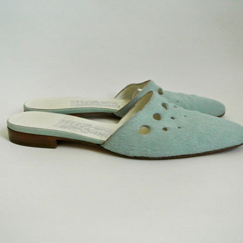Powder Blue Pony Hair Salvatore Ferragamo Slides 7 1/2