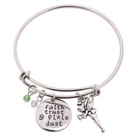 """Peter Pan Bangle""""faith trust & pixie dust"""" Hand Stamped Pendant with Tinkerbell Crystal Charms"""