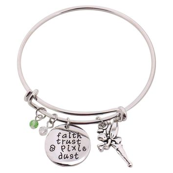 "Peter Pan Bangle""faith trust & pixie dust"" Hand Stamped Pendant with Tinkerbell Crystal Charms"
