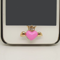 ETSY Black Friday/Cyber Monday 1PC Bling Crystal Heart wing Crown Jewel iPhone Home Button Sticker Charm for iPhone 4g,5,5c Valentine Gift