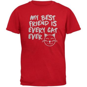 DCCKJY1 My Best Friend Is Every Cat Ever Red Adult T-Shirt