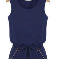 Dark Blue Sleeveless Bowknot with Zip Pocket Romper