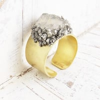 Pyrite and Herkimer Diamond Ring Rustic Mineral Brass Ring Raw Stone Jewelry Boho Chic Druzy Jewelry