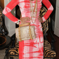 "ROMEO & JULIET COUTURE TIE DYED MAXI DRESS ""CALIFORNIA DREAMING"" CORAL PINK $155"