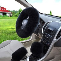 Soft Long Wool Handbrake Cover Gear Shift Cover Fuzzy Steering Wheel Cover Black