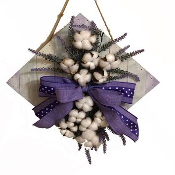 Cotton and Lavender Farmhouse Wall Hanging | Rustic Cotton Decor | Spring Purple Door Hanger | Rustic Wedding Decor | Year Round Wreath |