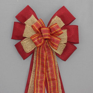 Dark Red Fall Plaid Burlap Fall Wreath Bow