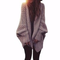 Women's Thick and Chunky Knit Long Sleeve Cardigan Dolman Sweater Jacket