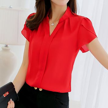 New Fashion Spring Summer Blouse Women Big Size Casual Red White Black V-Neck Chiffon Blouse Plus Size Slim Office Shirt Tops
