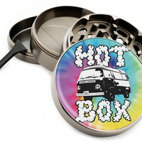"Hot Box Van 4 Piece Zinc Premium Quality Metal Herb Grinder 2.5"" (63mm) The Dead Tie Dye Dyed Herb Herbal Hippie Trippy"