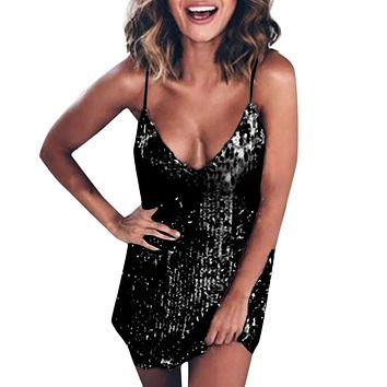 Ladies Women Dress Sparkle Glitzy Glam Sequin V-neck Sleeveless Party Club Mini Sexy Dress