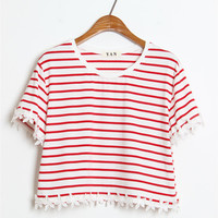Red and White Stripe Floral Hemmed Shirt