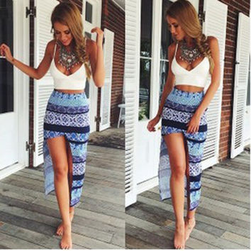 Hot Sale Tops Print Skirt Irregular Split Ladies Set [4966220804]