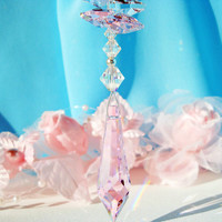 Swarovski Crystal Suncatcher Car Charm Swarovski Pink Rosalin Car Accessory