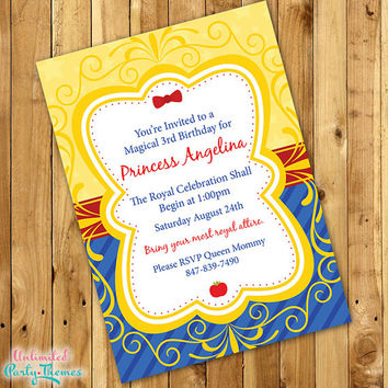 Princess Snow White Birthday Invitation / Snow White Invitation / Princess Invitation
