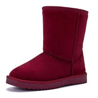 Waterproof snow High boots with high-level increase with warm velvet High boots Wine red