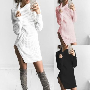 Womens Turtleneck Knitted Dresses Long Sleeve Bodycon Ladies Cocktail Mini Dress Fashion Hot Sales New Style Dresses Wolovey#20
