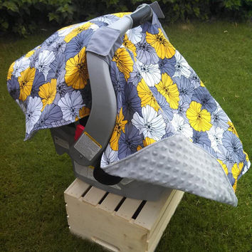 Infant Car Seat Canopy Grey Yellow Car Seat Cover; Ready To Ship