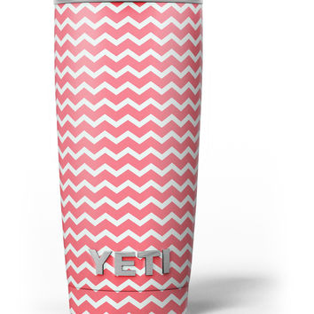 The Deep Pink and White Chevron Pattern Yeti Rambler Skin Kit