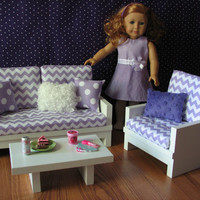 "American Girl sized Living Room / 18"" Doll Furniture - Loveseat / Chair / Coffee Table - Lavender Chevron - APRIL SHIPPING"