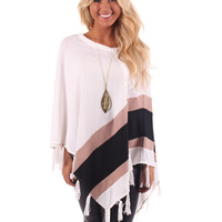 White Poncho with Black and Taupe Accent