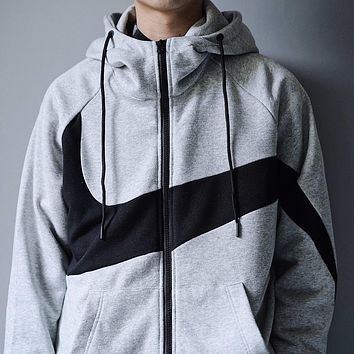 NIKE 2019 new men's sports and leisure training hooded jacket grey