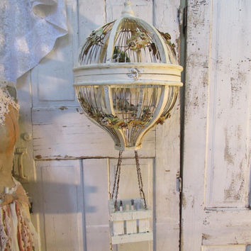 Distressed hot air balloon birdcage home decor shabby cottage bird cage rusty hand painted cream with metal roses vines anita spero