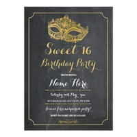 Sweet 16 Party MASQUERADE Birthday Gold Mask Chalk Card